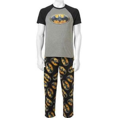 Men's DC Comics BaTMaN 2pc SLeeP PaJaMa Set T Shirt & Micro Fleece Pants Small