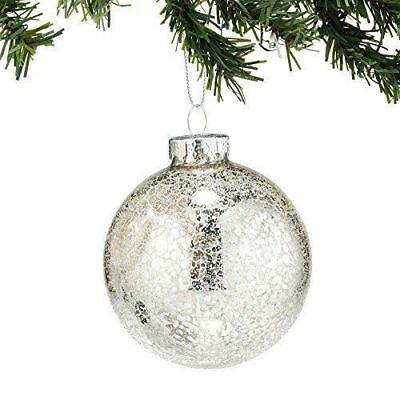Dept 56 SB SnowDream Silver Crackled Glass Ornaments set of 6 New #4025293
