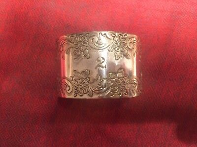 "Vintage solid Sterling Silver Napkin Ring Engraved with floral design and ""2"""