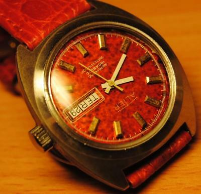 Vintage very rare tropical/Tropic red dial Automatic Alter Men´s Watch 70s