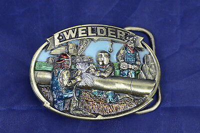 The Great American Buckles Brass Buckle Depicting Welder Enamel No.1803
