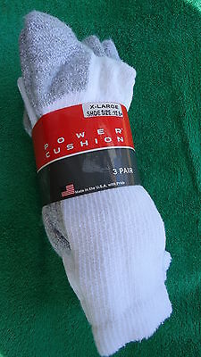 NWT 3 Pair White Power Cushion crew sock size 13-16 shoe size 13-15 Made In USA!