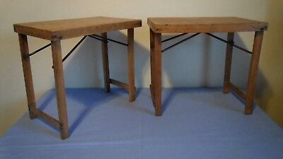 2 x Vintage Small Wooden Folding Tables Coffee Table Side Table Picnic Display