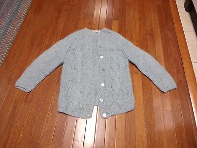 HandKnitted in Italy Vintage Mohair/wool/nylon blue cardigan sweater size M