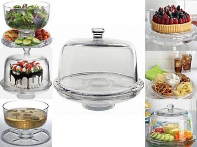 6 In 1 Cake Stand Clear Acrylic Dome Lid Salad Plate Punch Bowl Chip Dip Server