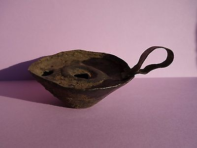 ancient late Roman / Byzantine primitive copper oil lamp