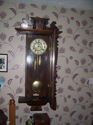 victorian double weight wall clock  ( please note)