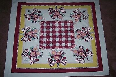 Vintage Tablecloth Country Cottage Floral Daisies Bows