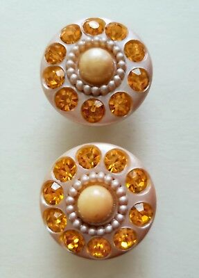 #8D Match Pr 2 Radiant Light Peach & Amber Rhinestone Vintage Celluloid Buttons