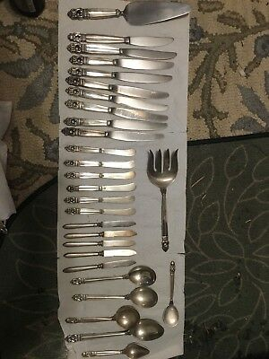 DINNER SIZE INTERNATIONAL ROYAL DANISH STERLING SILVER FLATWARE SET 79 pieces