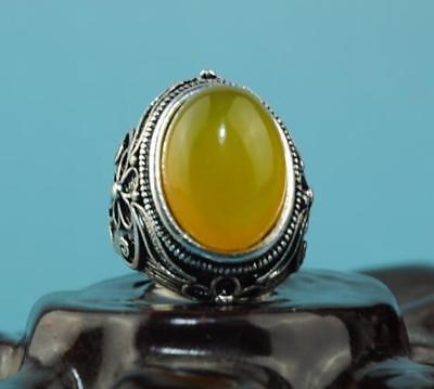 China hand-made silver inlay jade carve flower ring a01