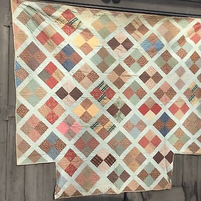 rags 1840-50'S EARLY 4 POSTER QUILT. ONE OF A PAIR...GREAT EARLY FABRICS #2