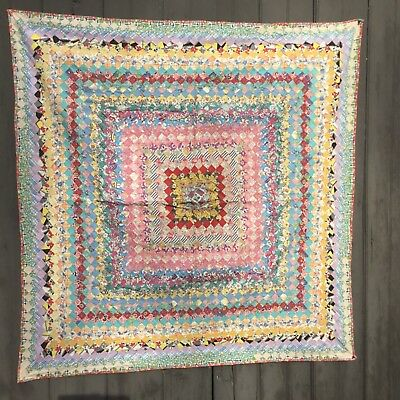rags  GREAT POSTAGE STAMP CRIB QUILT TONS OF TINY PIECES 1930's