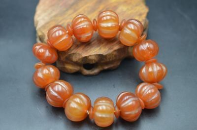 Beautiful Natural Agate Melon Shape Beads Amulet Bracelet Hand String
