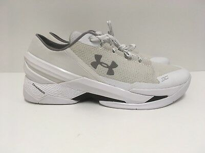 1219ff8e3b8b Under Armour Curry 2 Low White Silver Dad Shoes Mens Size 11.5 1264001-103