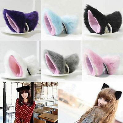 Cat Fox Long Fur Ears Neko Costume Hair Clip Halloween Cosplay Party Orecchiette