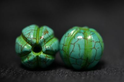 A Pair Chinese Hongshan Culture Turquoise Hand Carved Melon Beads