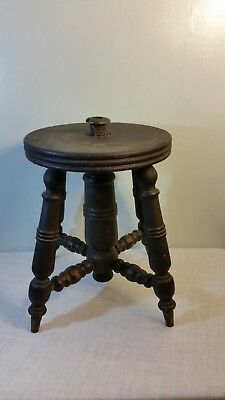 Vintage Victorian Wood Piano Stool Adjustable Seat for Repair