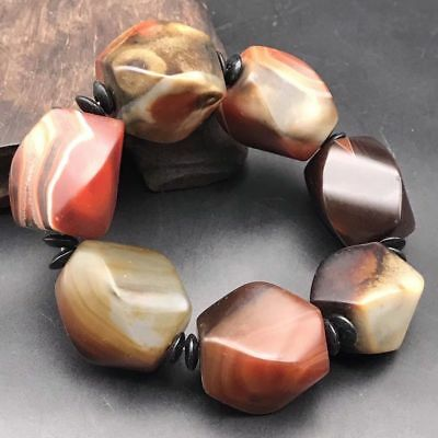 Natural Tibet Silk Old Agate Carving Multilateral Beads Lucky Bracelet