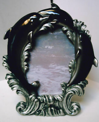 "DOLPHIN PHOTO FRAME W/STAND,  HOLD 4""x6"" PHOTO, WELL-MADE, OLD STOCK, NEW COND.!"