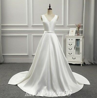 Simple Bridal Gown Custom Made Satin Sleeveless White Wedding Dress Bridal Gowns
