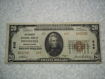 1929 $20 Pottsville Pennsylvania PA National Currency T2 #649 Miners National