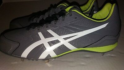 1b35a563c06 ASICS Base Burner Baseball Cleats Titanium White Lime Mens (K600Y 9707) Size