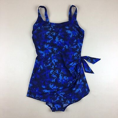 1ca15750698 LL Bean Blue Floral One Piece Swimdress Swimsuit Underwire Lined Cups Size  14