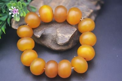Beautiful Chinese Nature Yellow Cinnabar Agate Beads Weaving Prayer Bracelet