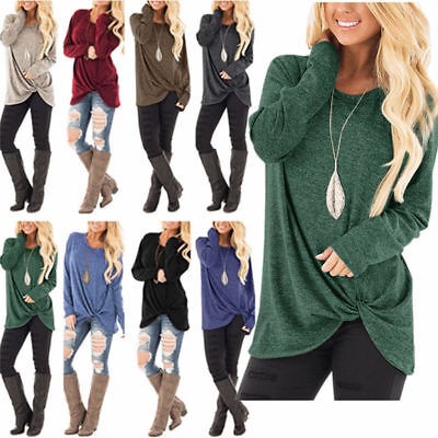 Fashion Women's Loose Long Sleeve Tie Knot Casual Ladies Shirt Tunic Tops Blouse
