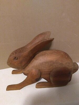 Vintage American Folk Art Large Hand Carved Natural Wood Rabbit