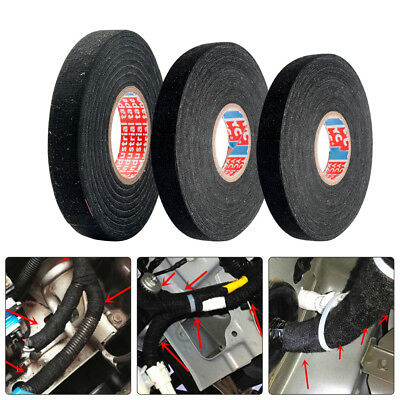 9/15/19mm x 15M/25M, Black Fleece Cloth Tape Cable Looms,Wiring Harness Tape