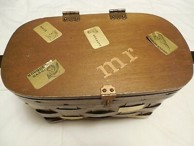 Vintage Wooden hinged box with clasp mirror inside with handle Burlap lined