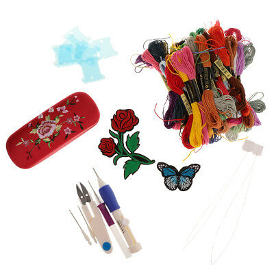 Punch Embroidery Kits for Adults Starters Cross Stitch Tool Kit Floss Needle