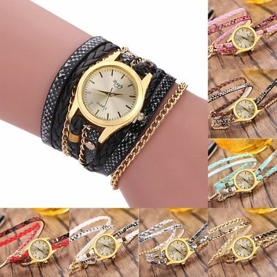 New Fashion Womens Ladies Watch Stainless Steel Leather Bracelet Wrist Watches
