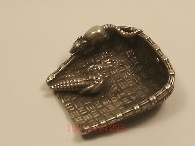 Collecting Ancient China Tibet Silver Mouse Maize Whisk broom Pendant Decoration