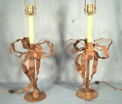 Pair Of Vintage Mid Century Rusty Tin Ribbon And Bow Lamps