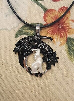 Game of Thrones Inspired Black Dragon and Snow Wolf Pendant Necklace - Jon