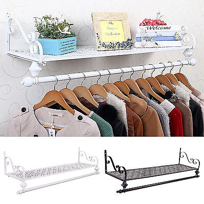 Clothes Rail Wall Mounted Garment Hanging Rack&Shelf Wardorbe Iron Heavy Duty