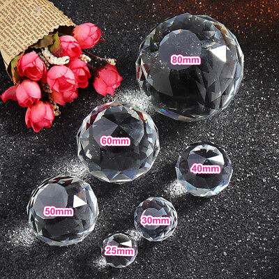 Clear Cut K9 Crystal Sphere 25-80mm Faceted Gazing Ball Prisms Home Decoration