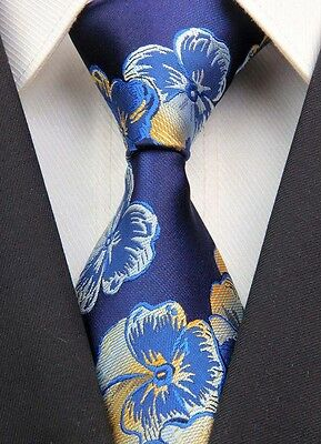 Wed/Party Necktie New Navy Yellow Floral Classic JACQUARD Woven 100%Silk Men Tie