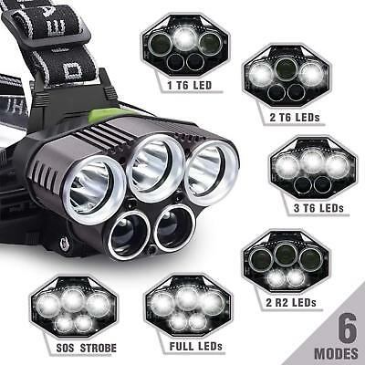 90000LM 5X T6 LED Headlamp Rechargeable Headlight Light Flashlight Head Torch KK