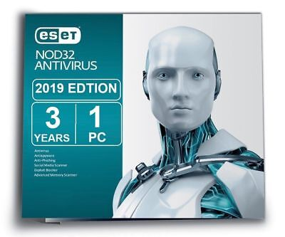 Eset NOD32 Antivirus - Version 12 on 2019 (3 Years for 1 PC) for Windows, Mac ,