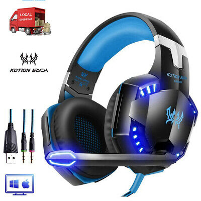 EACH 3.5mm USB Gaming Headset w/ MIC LED G2000 Surround Sound for Mac PC Laptop