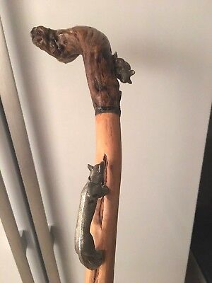 Antique  / Vintage Silver Fox And Mos Matal Walking Stick.
