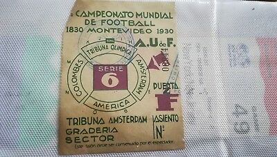Ticket Final World Cup 1930 Brazil - Uruguay Foot Entrada Billet Coupe Du Monde