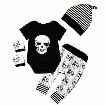 Punk Skull Toddler Infant Newborn Baby Boys Romper+Pants Clothes Outfits Set