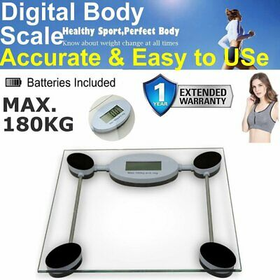 Digital Body Scale 180KG LCD Glass Weight Scales Bathroom Gym Electronic CLEAR
