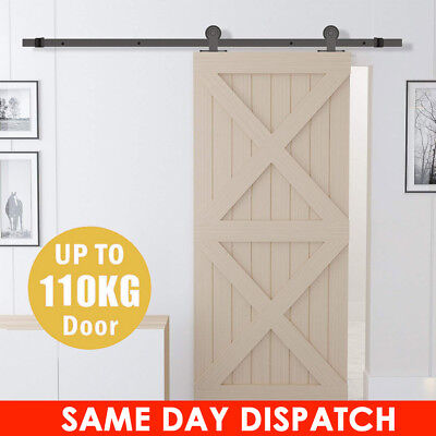 6.6FT Sliding Barn Door Hardware Roller Steel Track Rail Kit Home Closet