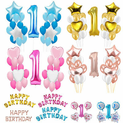 25pcs Boy Girl 1st Birthday Age Number 1 Foil Helium Balloon Baby Shower Party